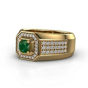 Natural Emerald Gemstone With 925 Sterling Silver Ring For Men's #A83