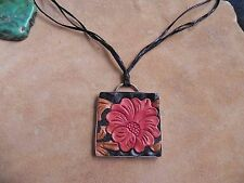 Peyote Bird~Red Tooled Leather FLOWER & Sterling Pendant on Leather Necklace