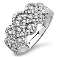 Sterling Silver Diamond Ladies Cocktail Hand Ring Wedding Band 1/3 CT Size 8.5