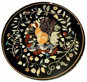 21 Inches Black Center Table Top Beautiful Design Inlay Marble Coffee
