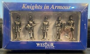 """NIB WESTAIR REPRODUCTIONS LTD SET OF 5 PEWTER KNIGHTS IN ARMOUR 40mm/1.5"""""""