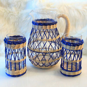5PC Williams Sonoma Recycled CANE WRAPPED PITCHER +2 TALL GLASSES Navy Seagrass
