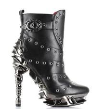 "Hades Size 8 Chrome Metal Gothic Steampunk Boot Heels ""Raven"""