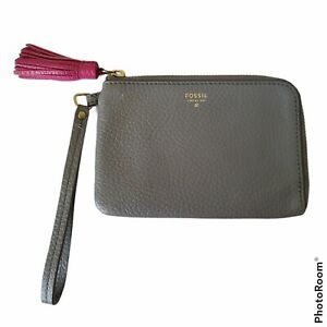Fossil Wristlet Wallet Gray Pebble Leather with Pink Tassel Clutch Bag Zipper