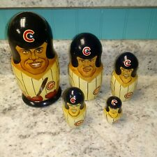 Vintage Chicago Cubs Nesting Russian Wooden Dolls Sosa Rare Large Set Complete!