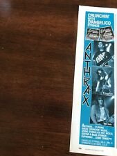 1990 Vintage 3X11 Print Ad D'Angelico Guitar Strings With Anthrax Scott Ian +