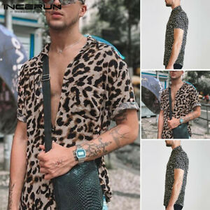 Men's Leopard Printed Casual Blouse Short Sleeve Party Loose Fit  Shirt Tops Tee