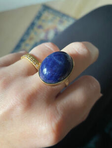 HUGE VINTAGE 1950'S 14K YELLOW GOLD & BLUE LAPIS DOMED LADIES RING Size 7 1/4