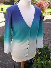 EAST linen dip dye turquoise blue cardigan V neck long sleeve fine knit size 12