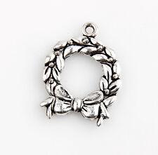 22 Christmas Wreath Tibetan Silver Charms Pendants Jewelry Making 4E3C1F