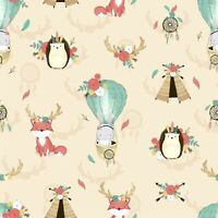 Boho cream animals tipi fox dream-chatter Cotton Printed Fabric,kids Fat quarter