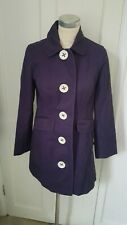 Boden Purple Cotton Coat With Oversize Buttons And Floral Lining Size 8 gorgeous
