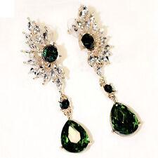 Sparkling Women Vintage Wing Shape Symmetry Crystal Dangle Drop Stud Earrings