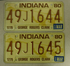 PAIR 1980 Indiana License Plate with Stickers, Consecutive Numbers