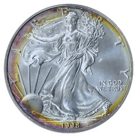 1998 $1 Silver Eagle PCGS MS-68 ( Beautifully Toned ) ASE Coin Bullion