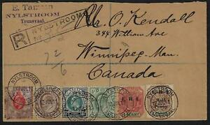 TRANSVAAL SOUTH AFRICA 1911 REGISTERED NYLSTROOM W/6 COLOR FRANKING INCLUDING OR