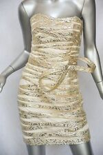 ANGEL SANCHEZ Tulle Gold Silver Bustier Strapless Brocade Bow Gown Short-Dress 4