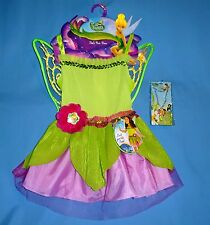 Disney Tinkerbell Fairy costume dress girls 4-6X wings jewelry headband set LOT