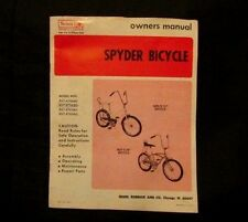 1972 Sears Spyder Bicycle owners manual