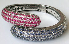 Elegant Unique Synthetic Ruby & Sapphire with CZ Rhodium plated Bangle Bracelet