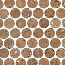 "1"" Cork Mosaic Tile for Flooring, Walls, Bathroom, Kitchen! Penny Round Tile!"