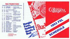 Charlotte Rangers Baseball '93 Budweiser Advertising Schedule Texas Minor League