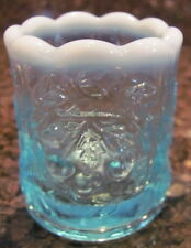 Toothpick Holder -  Wreathed Cherry Pattern - Blue Opalescent Glass