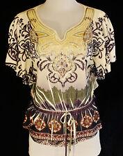 NWT Cocomo Petite CHIC BoHo Purple Cream Paisley Sequin Blouse Shirt Top PS