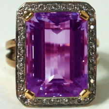 Estate Antique 1.05cts Rose Cut Diamond Amethyst Studded Amazingly Ring Jewelry