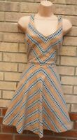 OASIS BEIGE WHITE STRIPED BLACK V NECK SKATER A LINE CURVY FIT TEA DRESS 8 S