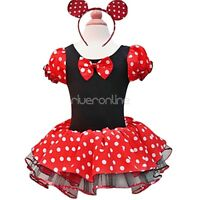 Girl Kids Baby Minnie Mouse Fancy Dress UP + Ears Outfit Party Halloween Costume