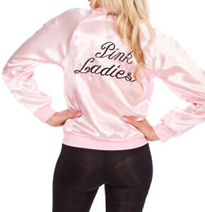 Womens 50s Grease Pink Lady Costume Pink Ladies Satin Jacket 1950s Glasses