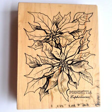 Huge Poinsettia Rubber Stamp Christmas Flower Detailed Leaves Holiday Plant Psx