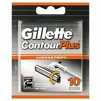 10 x Gillette Contour Plus Men's Razor Blades Cartridge Refills with Lubrastrip