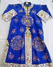 Bai Hua Vintage 70's Royal Blue Embroidered Kimono Robe Circle Butterfly Design