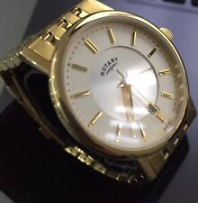 Men's Genuine Rotary Slim Dress Watch Gold  Date Champagne Dial Classic