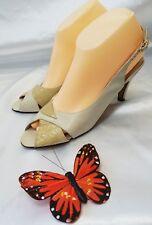 Salvatore Ferragamo Women's Open Toe Shoes Egg Shell/light coffee sz. US 8.5 AA