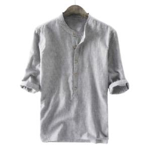 Men 3/4 Sleeve Striped Henley Shirt Blouse Casual Beach Loose Tops Tee Shirts