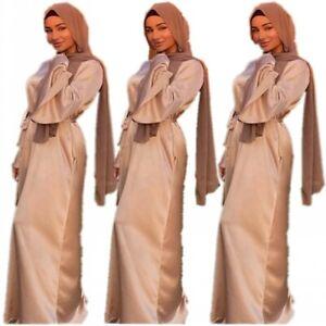 Spring New Dubai Lady Satin Flared Sleeve Party Dress Loose Muslim kaftan Robe