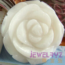 Gemstone white jade carved rose flower pendant for necklace fashion jewelry bead