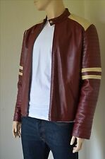 Vintage Burgundy Leather Biker Jacket Brad Pitt Tyler Durden Fight Club 44 XL