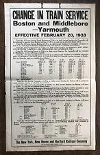 Rare 1933 NEW YORK NEW HAVEN Railroad POSTER Cape Cod BOSTON Yarmouth MIDDLEBORO