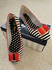 Ruby Shoo June Ladies Low Heel Court Shoes. Size 7 EUR 40. Black/Red Stripe New!