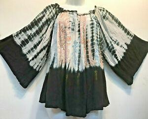 Nwt SACRED THREADS tie dye funky boho rayon hippy ruffled batik TOP O/S fits XL