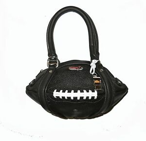 NEW Red24 Black Leather FOOTBALL PURSE Hand Bag+Whistle NFL team Steelers Saints