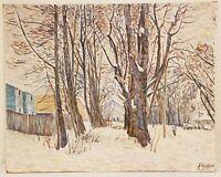 "Oil Painting on Board Winter Landscape Signed Unframed Art  (24"" x 30"")"
