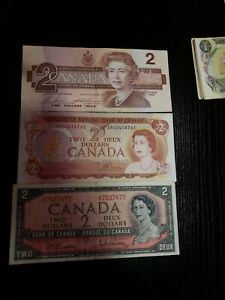 🇨🇦 Canada 2 dollars 1986 P-94, 1974 P-86a , 1954 P-94  Currency Banknote Money