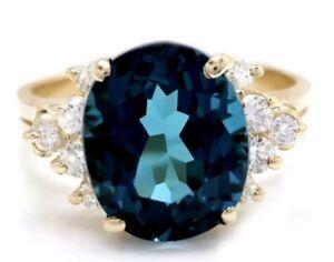 6.15 Carat Natural London Blue Topaz and Diamonds 14K Yellow Gold Ring