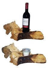 Soporte de vela Candelero madera teca marrón claro natural botellas vino Raíz