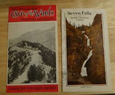2 Vtg 1930's Brochures Seven Falls & Cave of the Winds Manitou Colorado Springs